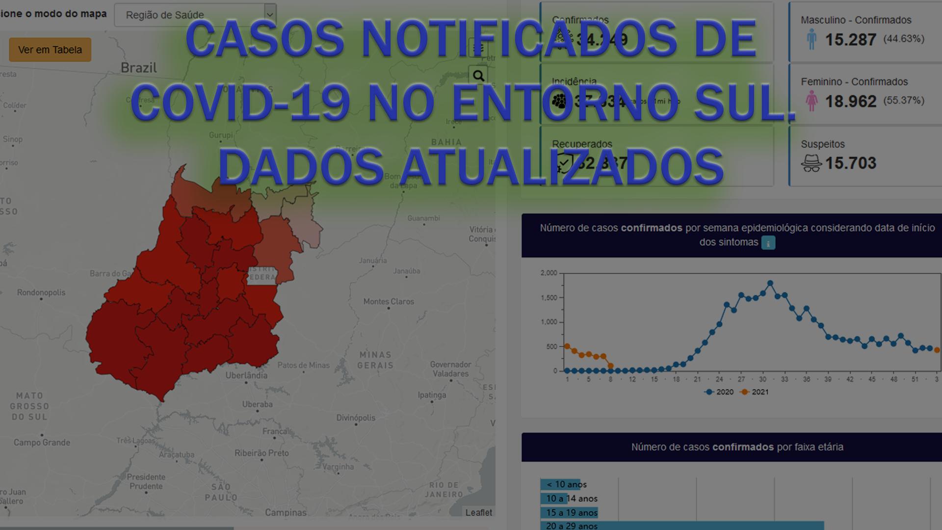 Casos notificados de COVID-19 no ENTORNO SUL