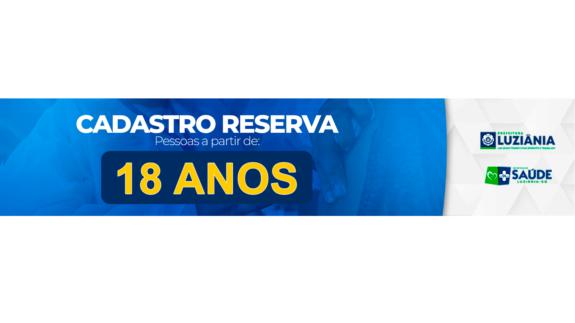 Read more about the article CADASTRO RESERVA PARA VACINA CONTRA A COVID-19 PARA O GRUPO A PARTIR DOS 18 ANOS DE IDADE.