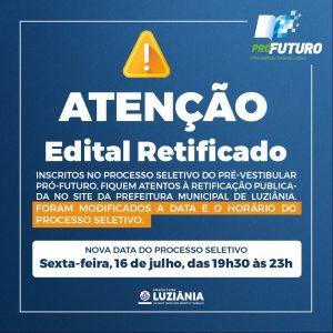 Read more about the article RETIFICAÇÃO EDITAL PRÓ FUTURO SEGUNDO SEMESTRE 2021