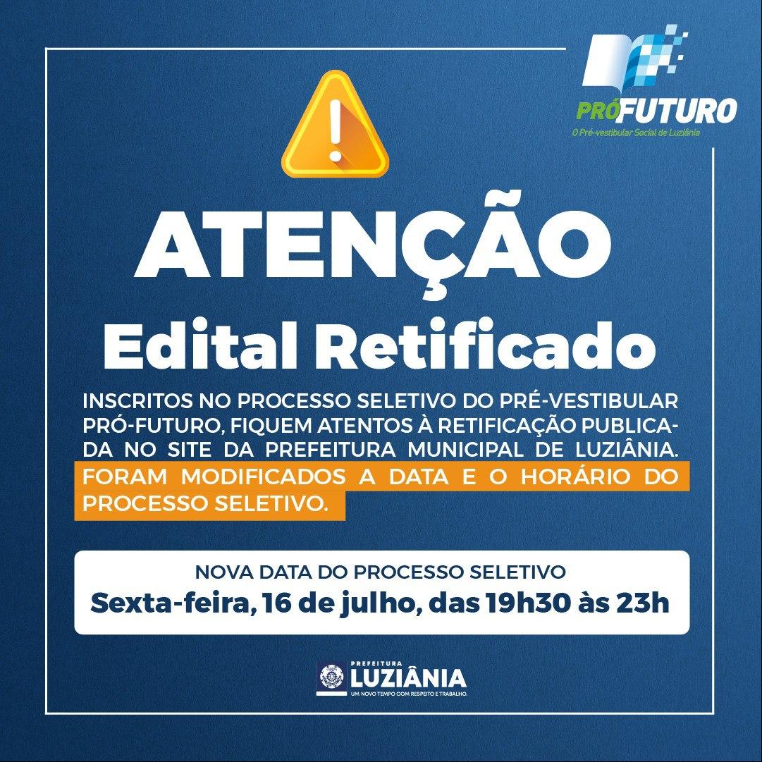 You are currently viewing RETIFICAÇÃO EDITAL PRÓ FUTURO SEGUNDO SEMESTRE 2021