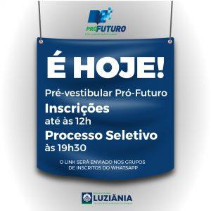 Read more about the article É HOJE o Processo Seletivo para o Pré-vestibular Pró-Futuro 2° semestre.