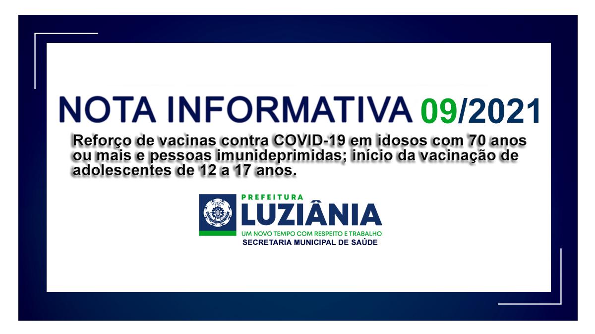 You are currently viewing NOTA INFORMATIVA Nº 09/2021 – SMS – Reforço de vacinas contra COVID-19 em idosos com 70 anos ou  mais e pessoas imunideprimidas; início da vacinação de adolescentes de 12 a  17 anos.